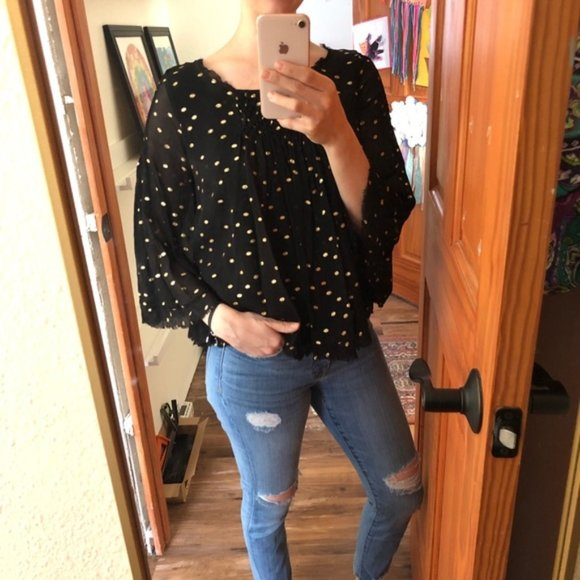 Anthropologie Tops - 2/$25 Anthro Floreat Gold Polka Dot Top Black S